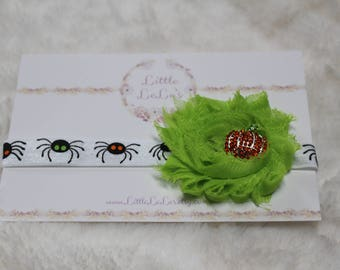 Baby/Toddler Halloween Spider Shabby Flower Headband