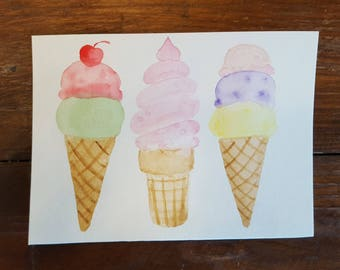 Summer Ice Cream Original Watercolor Paintings (Not prints)