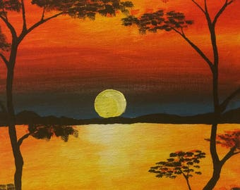Sunset in Acrylic Paints