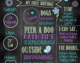 Butterfly Birthday Chalkboard, Birthday Chalkboard, Custom Chalkboard