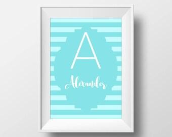 Custom Name Nursery Print, Nursery Custom Printable Art, Personalized Monogram Print, Letter Name Art, Name Digital Art, Customized Name