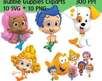 10 Bubble Guppies Clip Art, Bubble Guppies SVG, Bubble Guppies PNG, 300 PPI, Bubble Guppies Decoration, Printable,Not for Cricut