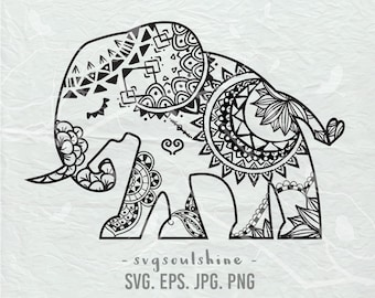 Elephant SVG File Silhouette Cut File Cricut Clipart Print Design Template wall decor, sticker svg, png, eps Instant Download, jpg