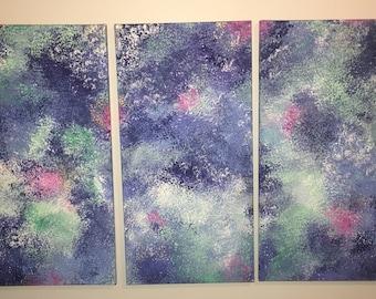 three piece painted canvas set