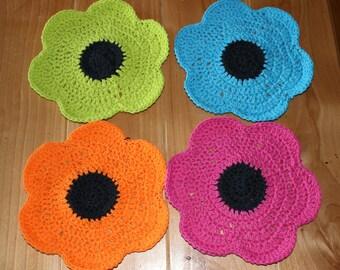 Handmade Crochet Dishcloths - 100% Cotton, Adorable Flowers (set of 4)