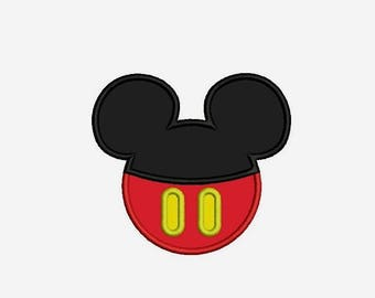 Mickey Mouse Head Applique - 3 sizes Mickey Mouse Head Embroidery Design - Mickey Mouse Buttons INSTANT DOWNLOAD
