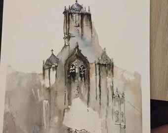 Architecture (destination) || Watercolor Original || Card or Painting