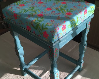 Shabby Chic Floral Stool