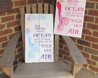 Salt Air Mermaid Pallet Sign