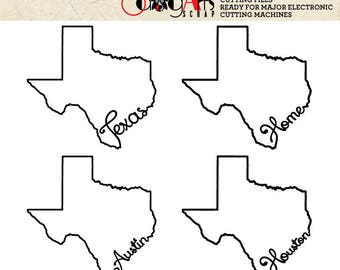 Texas Outline Typography Cut File - Svg Dfx Eps Png - Silhouette SCAL Cricut Printable Vector Download for Paper Vinyl Die Cutting JB-467