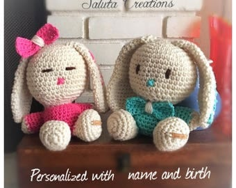 Baby shower perfect gift. Crocheted Rabbit. Personalized just for you.