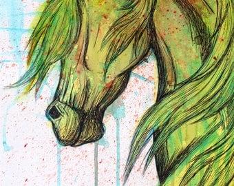 Abstract Horse- Watercolor Print