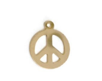 14K gold fill peace sign charm
