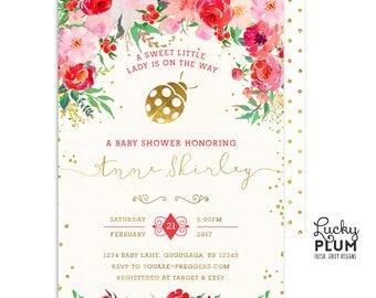 Ladybug Baby Shower Invitation / Couples Baby Shower Invitation / Pink Red Baby Shower Invitation  / Ladybird Lovebug Coed Twin