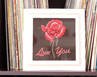 glass rose, Love You picture . vintage 1980s state fair image transfer on glass . 80s wall decor