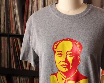 heather gray Chairman Mao t-shirt, unisex mens
