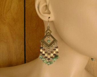 """Chandelier Earrings, Jade stone beads with wood, bone and silver beads, 3 1/4"""" long"""
