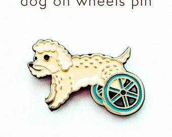Dog on Wheels Pin - Poodle Pin - Dog Enamel Pin Poodle Jewelry - Bionic Dog Lapel Pin - Dog art poodle art White Poodle Brooch