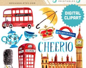 LONDON Digital Clipart Instant Download Illustration Great Britain Travel British Queen Big Ben Cheerio Tea City Clip Art Artwork Watercolor