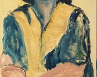Blind Prophetess Expressionistic Acrylic Figure Study