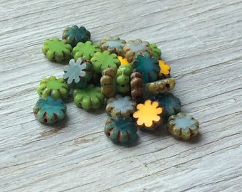 Cactus Flower Beads, Czech glass flower beads 9mm- green, yelllow, aqua and sky blue picasso 25 pack