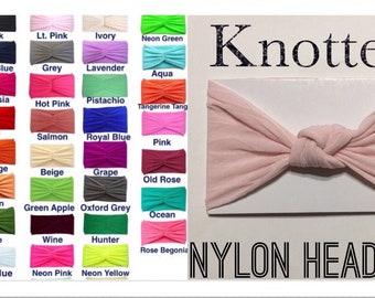 Baby Girl Knotted Headband / Nylon Headband / Toddler Knotted Headwrap / Girl Turban Headband / Knot Headband / Top Knot Headband / You Pick