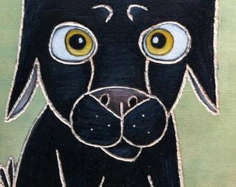 "Sweet Black Dog 8 X 10"" Custom Matted Print"