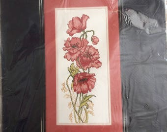 Golden Bee Counted Cross Stitch Kit-Poppies-#60445-New, Sealed-OOP