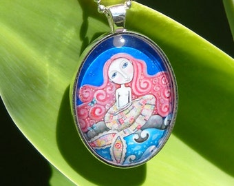 Folk Art Mermaid Jewelry Necklace Red Hair Oval Pendant Silver Plated Mermaid Art Gift for Friend Mermaid Necklace Gift for Mermaid Lover