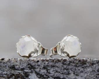 Rainbow Moonstone Earrings - Stud Earrings - Small Earrings - Sterling Silver - Post Earrings - Rainbow Earrings - Gemstone Earrings