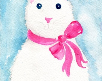 watercolor painting - Bunny Rabbit, original watercolor painting 5 x 7  bunny watercolor, small rabbit art, pink bow, blue background