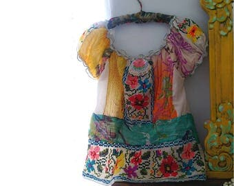 Pretty Peasant Top, Patchwork, Appliques, Hand Sewn, Embroidery, Colourful, Folksy, Boho, Allthingspretty, Upcycled Clothing