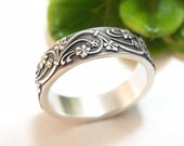 Womens Wedding Band Mens Wedding Ring Sterling Silver Wedding Band Womens Wedding Ring Mens Wedding Band Vines Wedding Art Deco Ivy