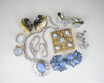 Vintage Rhinestone Jewelry Repurpose Harvest Blue Opal Glass Molded Leaves Necklace Earrings Brooch Pins