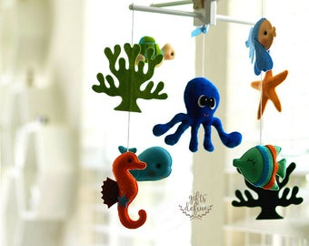 Free US Ship OCEANOGRAPHY Octopus and Sea Fish Musical Baby Mobile - Custom Mobile for Crib, Nursery Mobile, Modern Nautical, Ocean Maritime