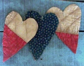 3 Primitive Heart Ornaments, Rustic Tattered Hearts, Americana Farmhouse Decor, Antique Quilt Hearts, Red Blue White Stars - READY TO SHIP