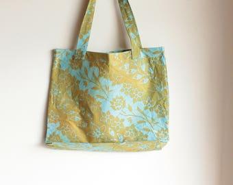 hand printed flower stripes grocery bag