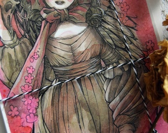 PostCard - Anime - Art card - Victorian Fashion - Anime - Sakura Doll - Ball Jointed Doll - Japan - Pink