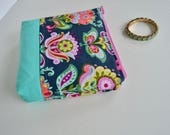 Zipper Pouch - Make up Bag  - Gift for Teen Girls - Floral Zipper Pouch - Blue Zipper Pouch- Gift for Girls - Bridesmaid Gift - Cosmetic Bag