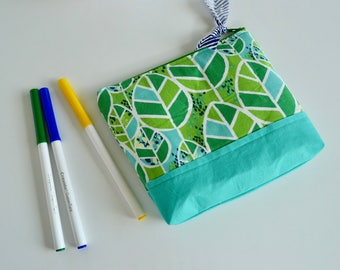 Zipper Pouch - Make up Pouch - Cosmetic Bag - Turquoise Green Pouch - Gift for Mom - Purse Organizer - Small Pouch - Bridesmaid Gift - Pouch
