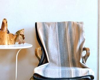 Wool Blanket Stripe Design Shades of Earthy Gray Beige & Brown Lightweight Throw