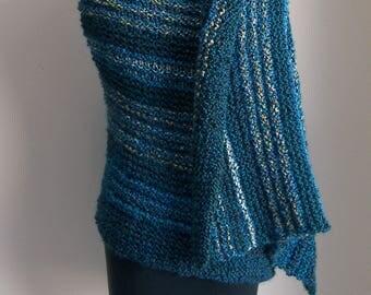 Custom Made Hand Knit Azure Island Shawl Wrap, Lap Blanket, Throw, Full Rectangle, Stylish Comfort Prayer Meditation, FREE Shipping