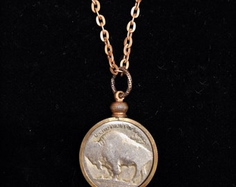 Buffalo Nickel Coin Holder Necklace, Indian Head, bison, CU Buffs, Nickel City