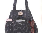 gray handbag, fabric tote bag, grey purse, shoulder bag, diaper bag, multi pocket bag , shoulder purse, hobo bag, polka dots,  ready to ship