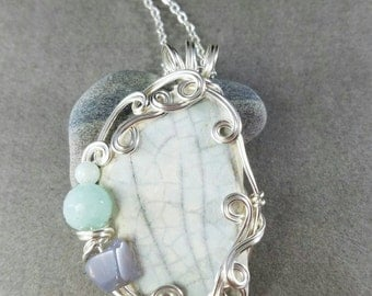 Pale Blue Sea Pottery Silver Wire Wrapped Necklace