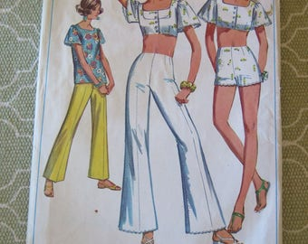 Vintage 60s Simplicity 8113 Summer Crop Top and Pants Sewing Pattern size 16 B38