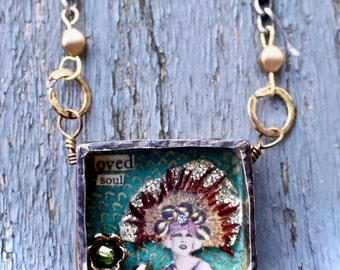 Urban Reliquary - Loved Soul - Handmade Brass Niche Necklace- Soldered glass Window Collage- OOAK- Urbangipsy Exclusive-