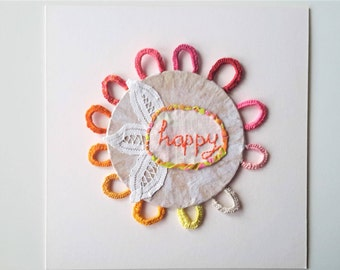 Paper Assemblage, Mixed Media Art, with Orange Handwriting- Hand Embroidery, Happy Art Emotional Art.