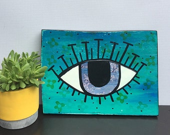 Evil Eye Wall Hanging - Original Mixed Media Collage Painting - blue eye, wall art decor, judaica, jewish art, gift by Claudine Intner
