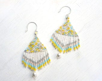 Boho Style Beaded Earrings, Beadwoven Earrings, Native American Style Earrings with Fringe, Seed Bead Earrings With Fringe, by Durango Rose